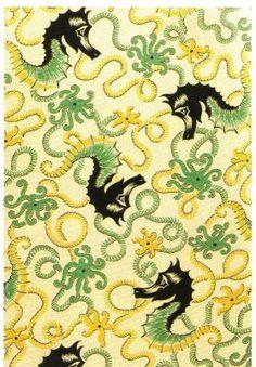 """Calico.  """"Sea Horses"""", cotton, Calico Printers' Association, England, 1936"""