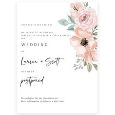 Floral Wedding Postponement Announcement | Forever Your Prints