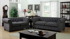 Furniture Of America Sofa Stanford Collection, Grey Fabric tufted Sofa for $877