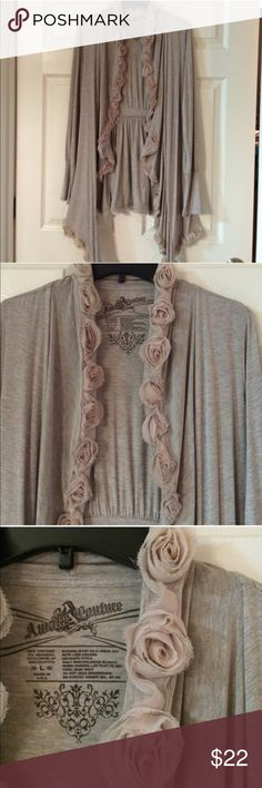 Awake Couture Cardigan size Large Awake Couture Cardigan size large (fits like a medium).  Gray color with light pink color roses along the trim.  This light weight cardigan is so pretty and I've enjoyed wearing it.  Lots of compliments. Awake Couture Sweaters Cardigans