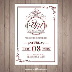 Nice classic style wedding invitation   Free Vector
