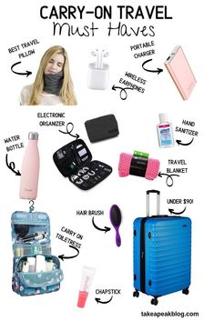 Carry-on travel must haves for traveling on a plane. : Carry-on travel must haves for traveling on a plane. One of the toughest things to do while packing for a trip is fitting ev Carry On Bag Essentials, Airplane Essentials, Road Trip Essentials, Travel Packing Checklist, Road Trip Packing List, Road Trip Hacks, Packing Tips, Must Have Travel Accessories, Travel Must Haves
