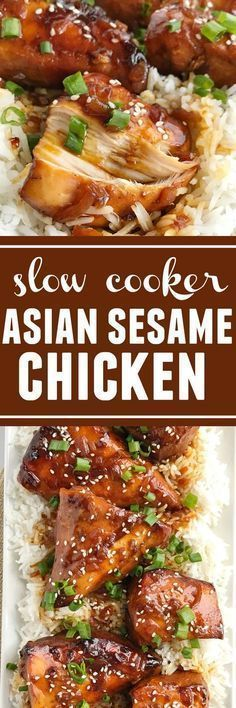 4 ingredients are all you need for this super easy & quick dinner recipe! Slow cooker Asian sesame chicken is a family pleasing meal that is loaded with lots of flavor and tender chicken. Serve over hot cooked rice and a side of veggies for an easy dinner that will be gobbled up   www.togetherasfamily.com #crockpotrecipes #slowcookerrecipes #chicken #chickenrecipes #dinner #dinnerrecipes