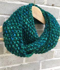 Ocean Blues Merino Hand Knit Infinity Scarf by OopsIKnittedAgain