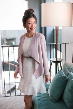 7ddd3ac326 draped open blazer work outfits petite women White Ruffle Dress