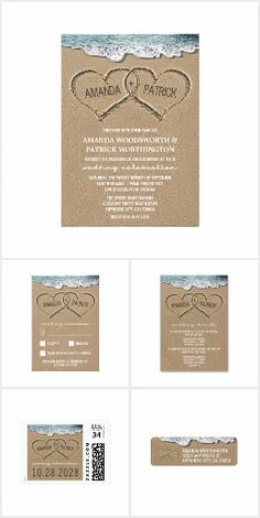 "Hearts in the Sand Beach Wedding Invitations Set Overall designs feature hearts in the sand that you can ""carve"" or ""write"" your own names into. The back has a matching sand background. See the full matching collection in this design found on this page."