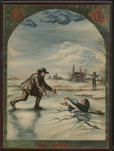 Painting depicts Dirk Willems who rescued his pursuer and was later killed.