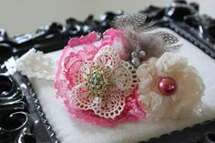 pink ivory lace pearl brooch headband with feathers easter spring wedding photo prop vintage birthday tea party headband glamour headband Elegance and Lace Vintage Headband by SugarDivasDesigns on Etsy, $15.00