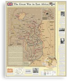Map of the western front showing ww1 battlefield locations in the great war in east africa canvas print gumiabroncs Gallery