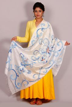 Asima Floral hand painted dupatta