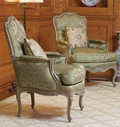 Pair of very fine, French, Louis XV period bergeres.  In solid, carved, painted wood. Circa 1745.