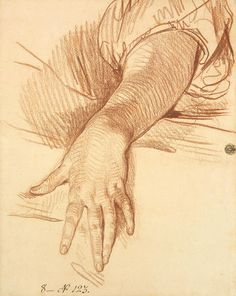 Jean-Baptiste Greuze – Study of a Female Arm Dropped Down, 1765, red chalk, 41.5x32.4 cm | Hermitage Museum, St. Petersburg