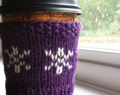 Can we eat the purple snow Handknit wool cup cozy  by KnittyVet, $8.50
