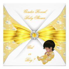 Baby Shower Gender Reveal Yellow Girl Boy Bunny AM Custom Announcements
