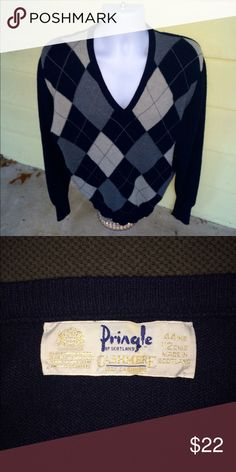 Pringle *100% cashmere* argyle casual golf sweater Stunning men's Pringle of Scotland pure cashmere argyle casual golf sweater that is sized large.  Gently used condition.  No problems.  You won't be disappointed. Pringle Sweaters V-Neck