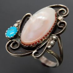 Native American Oval Mother Of Pearl Turquoise Wind Swirls Sterling Silver Ring - Size 9.25