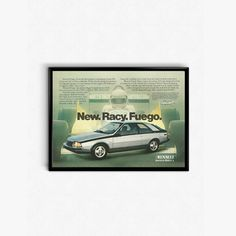 Renault Fuego  New Racy Fuego  The Fuego Formula  80s Sports Car  Classic 80s Car  Silver Car Poster  Car Decor For Husband Gift DIY by RetroPapers