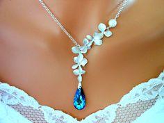 Bermuda Blue Peacock Orchid Bridal Necklace