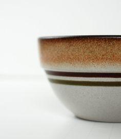 Vintage Heath Ceramics Dessert Bowl - Brown with Red and Green Stripes - Metallic Glaze