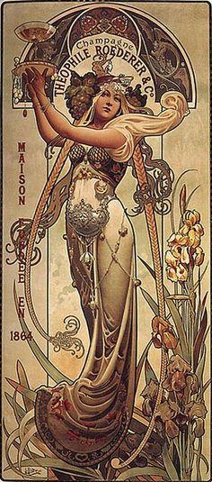 art nouveau woman drinking tea artists - Google Search