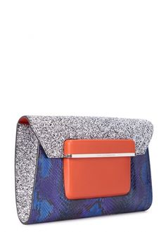 Blue python and glittered leather clutch - Bags - All Accessories - Women