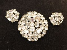 Stunning Clear Baguette & Chaton Rhinestone Brooch and Earrings Demi Parure Set