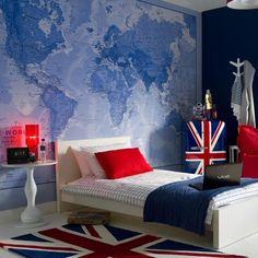 Teenage boy's bedroom with map mural   Teenage boy's room design ideas   housetohome.co.uk