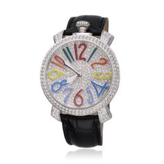 ZLYC Women's Luxury Rhinestone-studded Colored Numeral Leather Watch A