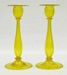 Pair Steuben Yellow Twist Candlesticks