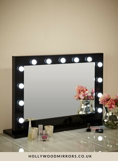 Hollywood Mirror In Black Gloss | Makeup Mirror With Lights | Dressing Table  Mirror With Lights