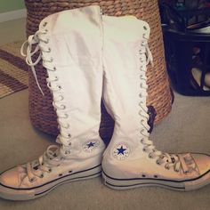 fa2c9c803c7c4 My final pair of white knee high converse! I just love white knee high  converse