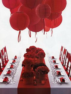 Red And White Table Decor And Paper Lanterns