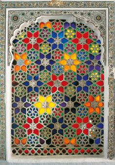 The Shish Mahal In Deogarh Palace Has Windows With Coloured ~ das shish mahal im deogarh-palast hat fenster mit farbe ~ ~ Easy mosaic patterns Leaded Glass, Stained Glass Windows, Mosaic Glass, Glass Art, Window Glass, Stained Glass Designs, Stained Glass Patterns, Mosaic Patterns, Pattern Art
