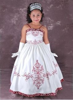 A-Line/Princess Strapless Floor-Length Satin Flower Girl Dress With Embroidered Sash