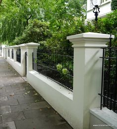 House Fence Design, Modern Fence Design, Wrought Iron Security Doors, Wrought Iron Fences, Patio Fence, Brick Fence, Compound Wall Design, Garden Railings, Pillar Design