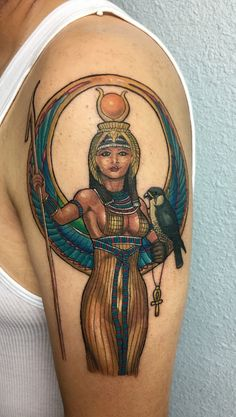 Goddess Isis tattoo done by Tyler Moody at SURREAL TATTOO STUDIO IN KC MO