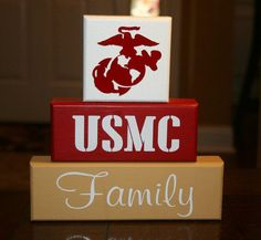 Hand Painted Marine Corps Family blocks by krcustomwoodcrafts, $23  (Click the Etsy.com link at the top right of picture to see the full listing)
