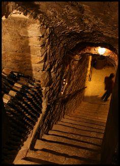 Stairs to underground wine cellar