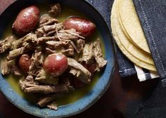 Carne en Salsa Verde con Papitas (Shredded Flank Steak with Potatoes in Green Salsa) - Pati Jinich Mexican Dishes, Mexican Food Recipes, New Recipes, Cooking Recipes, Favorite Recipes, Spanish Recipes, Mexican Cooking, What's Cooking, Special Recipes