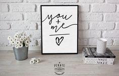 Affiche Noir & Blanc YOU+ME = LOVE - Décoration Murale