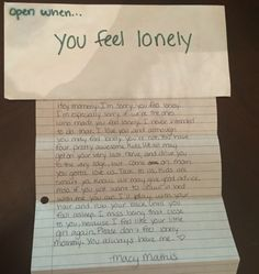 """Open when you miss me"": Late daughter leaves behind letters to mom Mom discovers letter from her daughter a month after the teen tragically died in a crash<br> Mom discovers letter from her daughter a month after the teen tragically died in a crash Creative Gifts For Boyfriend, Cute Boyfriend Gifts, Boyfriend Anniversary Gifts, Birthday Gifts For Boyfriend, Boyfriend Presents, Cute Crafts For Boyfriend, Cute Things To Do For Your Boyfriend, Dear Boyfriend, Boyfriend Ideas"