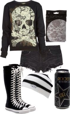Skull sweatshirt with jean shorts along with a cute black and white beaning to match your black and white chucks!:
