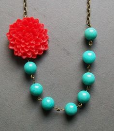 Bright Red and Turquoise Flower Statement Necklace