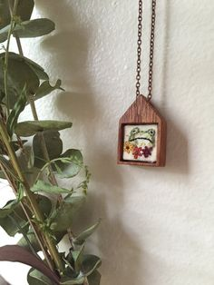 #Jewelry  #Necklace  #Fiber # thehornet'snest  #hand embroidered  #needlework  #wood #jewelry #pendant  #gift  #christmas gift #sweet   #frog jewelry  #frog necklace  #embroidered frog #house