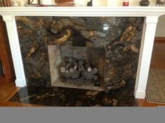 Fireplace surround with raised hearth black marble Granite