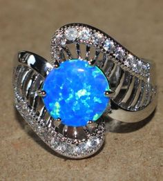 blue-fire-opal-Cz-ring-gemstone-silver-jewelry-Sz-7-modern-engagement-cocktail-G