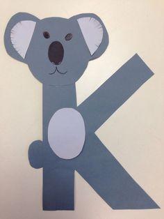 K for koala Preschool k crafts Children k crafts Alphabet crafts Preschool Letter Crafts, Alphabet Letter Crafts, Abc Crafts, Alphabet Activities, Preschool Activities, Letter Tracing, Letter Art, Daycare Crafts, Alphabet Book