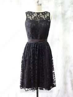 Scoop Neck Black Lace with Sashes/Ribbons Knee-length Modest Bridesmaid Dress…