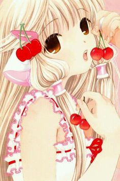 Kawaii Chii with cherriess <3 from anime Chobits. Chii is a robot. She lost somethink and now she learn everythink... walking.. talking.. wearing.. It's very good anime ;33
