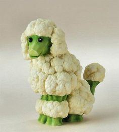 Food Art Cauliflower poodle Brenda Franklin Franklin Franklin Torres You should make these for a veggie tray at the holidaysCauliflower poodle Brenda Franklin Franklin Fr. Food Design, Cute Food, Good Food, Funny Food, Awesome Food, Veggie Art, Veggie Food, Creative Food Art, Creative Ideas